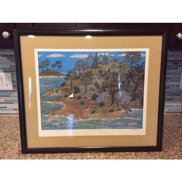 """1960s Vintage Mike Falco """"Lazy Afternoon"""" Folk Art Signed Artist Proof Serigraph on Canvas For Sale - Image 12 of 12"""