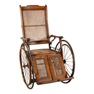 Victorian Oak and Rattan Wheelchair For Sale