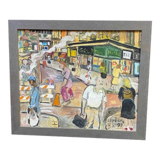 1997 Contemporary NYC Street Scene Acrylic Painting, Framed For Sale