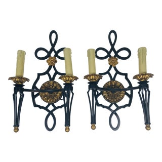 Hand Wrought Iron Wall Sconces – a Pair For Sale