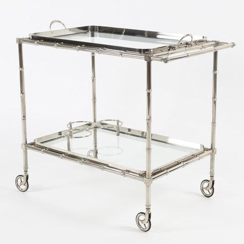 1960S SWEDISH POLISHED-NICKEL, FAUX-BAMBOO BAR CART ON CASTERS For Sale - Image 9 of 10