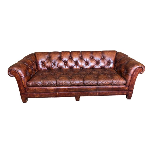 Vintage Cognac Brown Leather Chesterfield Sofa For Sale