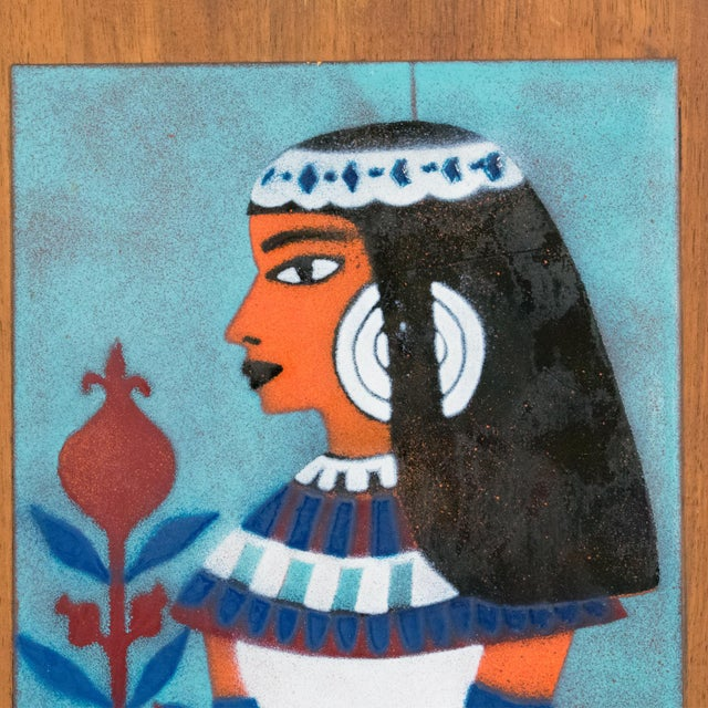 1950s Judith Daner Midcentury Enamel on Copper Artwork Wall Panel Egyptians, a Pair For Sale - Image 5 of 13