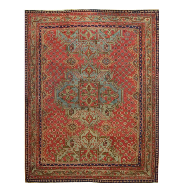 Antique Turkish Red Oushak Rug, 8'4 X 11' For Sale