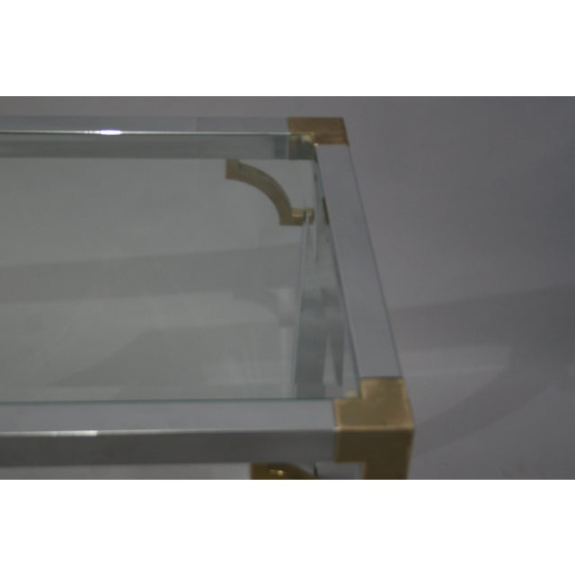 Mastercraft Chrome Brass Chinoiserie Side Table - Image 3 of 9