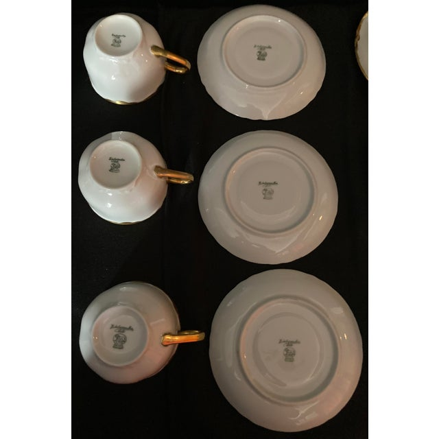 Hutscheneruther Hutschenreuter White Porcelain and Gold Cup and Saucers - Set of 6 For Sale - Image 4 of 13