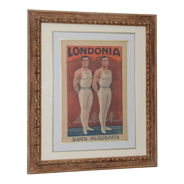 Londonia Super Acrobats Antique French Poster C.1900 For Sale