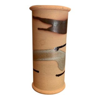 Neutral Signed Pottery Vase For Sale