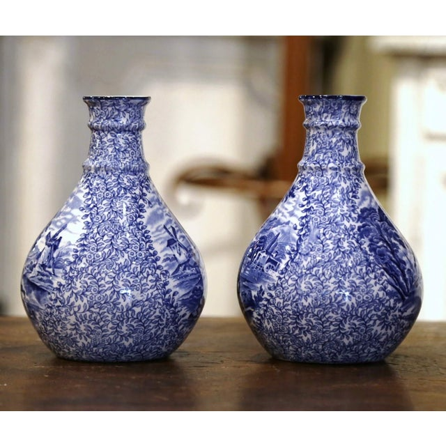 Early 20th Century Early 20th Century English Blue and White Painted Faience Delft Vases - a Pair For Sale - Image 5 of 11
