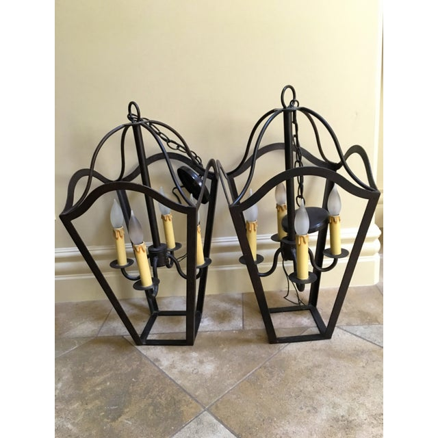 Custom Designed Wrought Iron Chandeliers - A Pair - Image 7 of 7