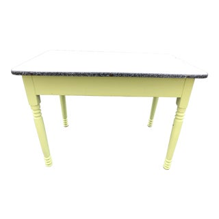 Vintage Country Wood Farm Table With Enameled Top For Sale