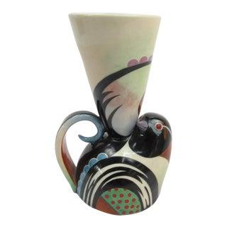 1990s Art Nouveau Pottery Male Towhee Cup For Sale