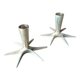 1960s Danish Mid Century Modern Silver Plated Candle Holders - a Pair For Sale