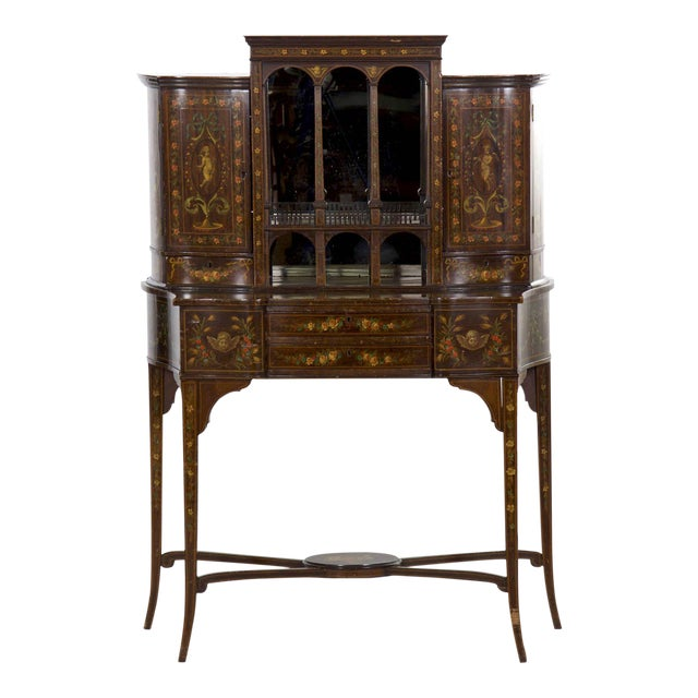 Edwardian Classical Painted Antique Console Cabinet Circa 1860-80 For Sale
