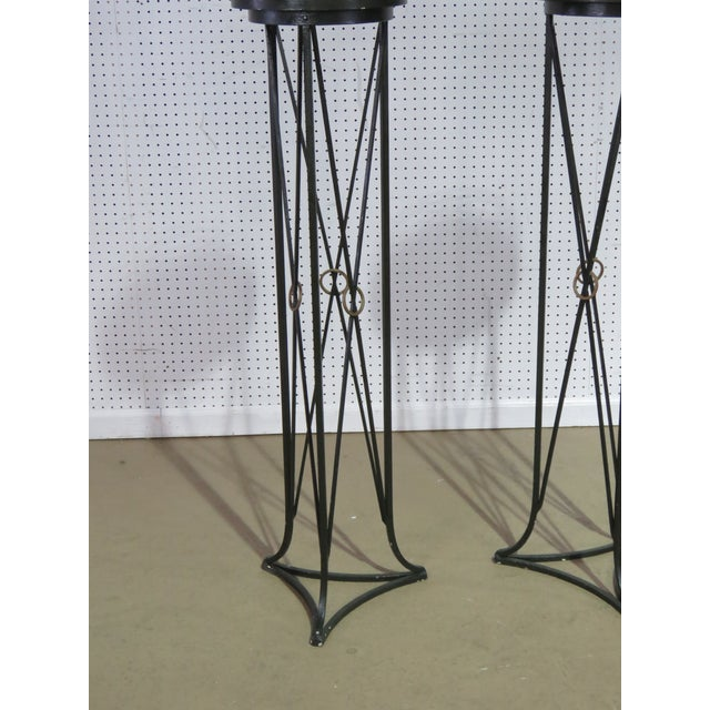 Pair of Hollywood Regency style plant stands with marble tops.