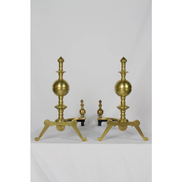 Pair of 19th Century Turned Brass Andirons For Sale In Boston - Image 6 of 6