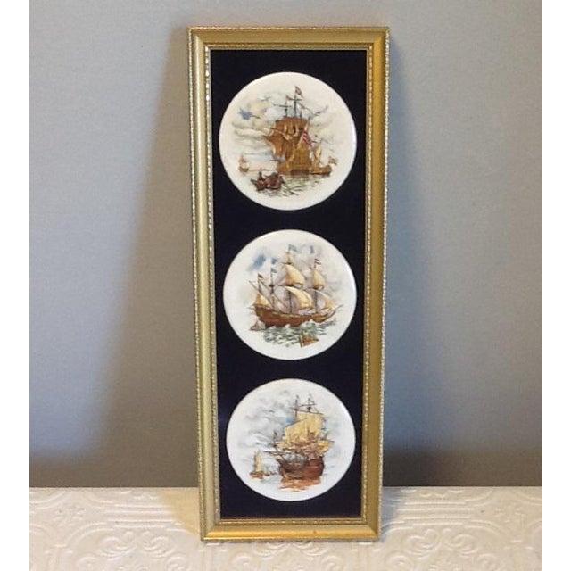 1970s Staffordshire Ceramics Framed Ship Plaques, Framed For Sale - Image 5 of 5