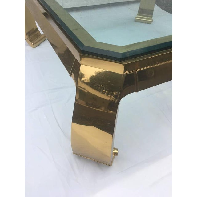 Mastercraft 1970's Asian Inspired Brass & Glass Coffee Table by Mastercraft For Sale - Image 4 of 12
