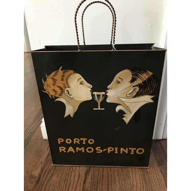 Porto Ramos Pinto Tole Ware Wine Magazine Basket Bag For Sale - Image 10 of 11