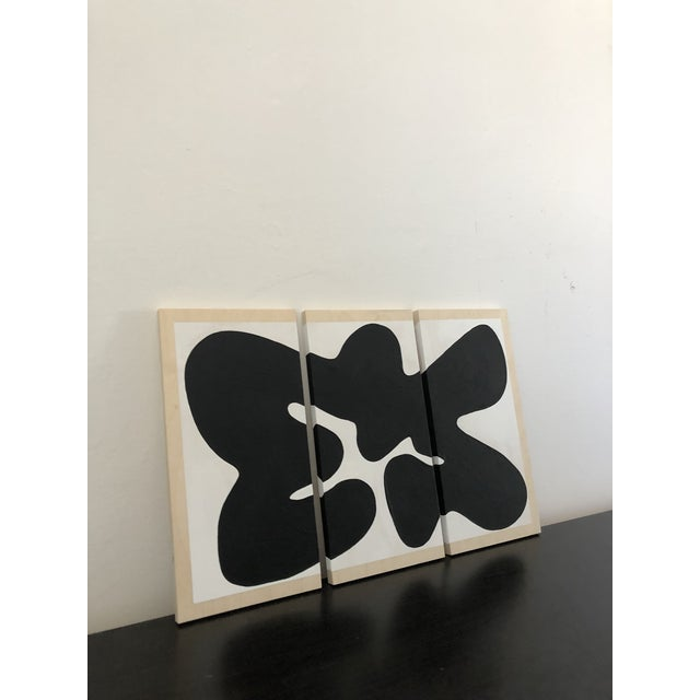 Abstract Black and White Oversized Abstract Triptych For Sale - Image 3 of 5