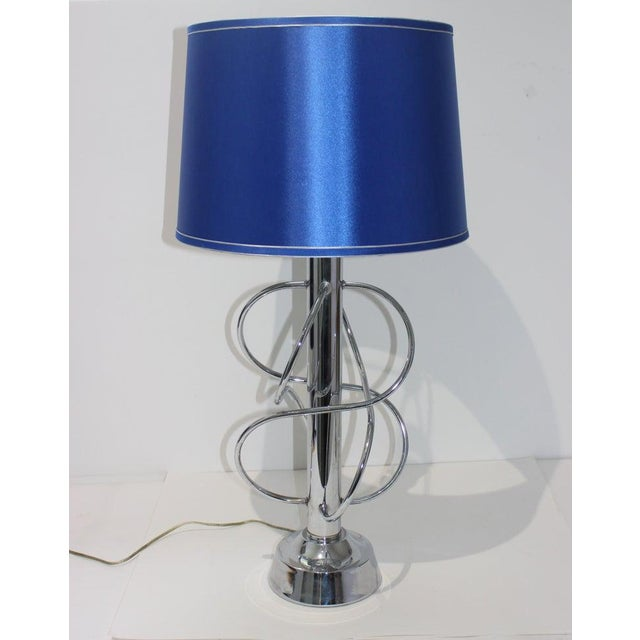 Vintage Scolari Style Table Lamp in Chrome and Blue Silk Shade For Sale - Image 12 of 13