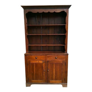 Large Early Pine Stepback Cupboard or Cabinet For Sale