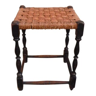 19th Century English Handwoven Hemp Seat with Turned Legs Stool For Sale