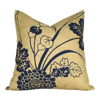 Hand-Drawn Floral Batik Japanese Fukusa Pillow Cover For Sale