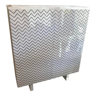 Italian White Lacquer Cabinet, W/ Chevron Doors For Sale
