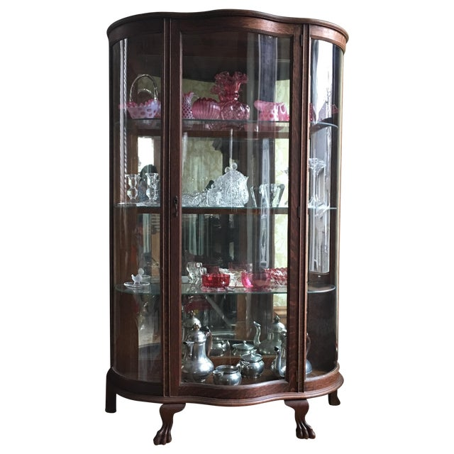 Antique Curved Glass Cabinet With Glass Shelves For Sale