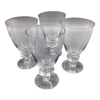 Five Knob Bulb Stem Crystal Water Glasses - Set of 4 For Sale