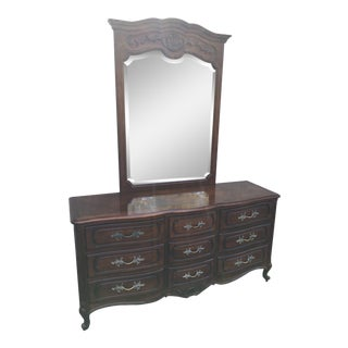 French Century Furniture Triple Dresser and Mirror For Sale