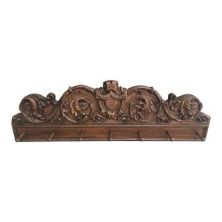 1980s Vintage Country French Pediment Coat / Hat Rack For Sale