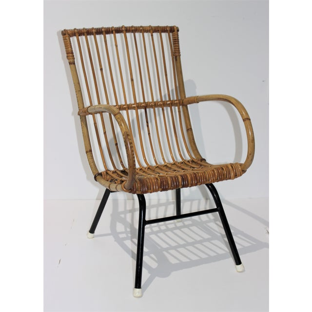 Mid-Century Modern Franco Albini Style Child's Chair Bamboo and Rattan For Sale - Image 12 of 13