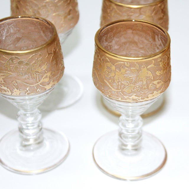 Antique Gold Gilded Pressed Decanter Set - 5 - Image 5 of 5