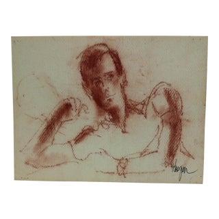 "Vintage Mid-Century ""Sexy Man"" Krogen Original Watercolor Painting For Sale"