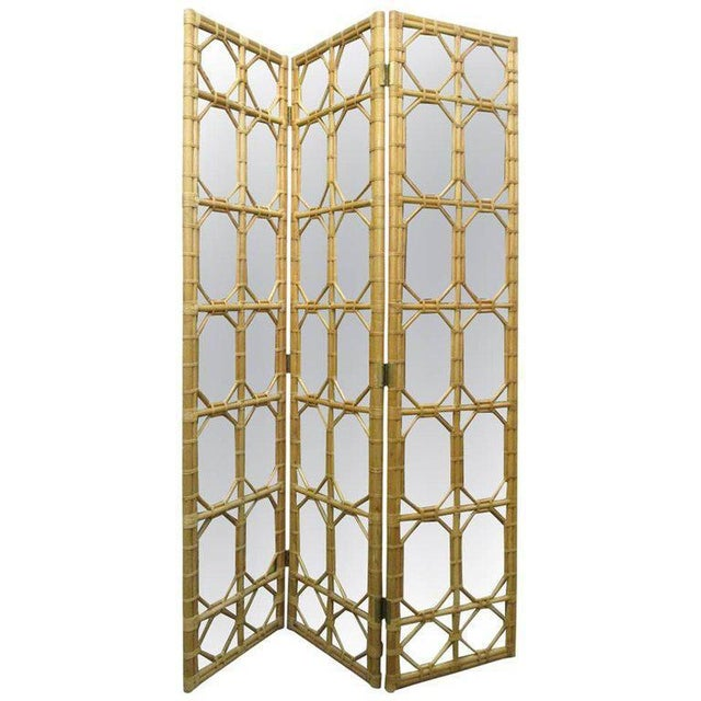 Tan 1960s 3 Panel Rattan & Mirror Floor Screen Room Divider For Sale - Image 8 of 8