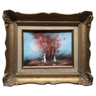 Enamel on Copper Landscape by Carol Simkin For Sale