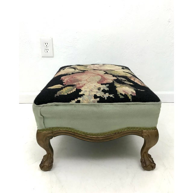Chippendale Antique Needlepoint 'Rose' Gilt Wood Foot Stool For Sale - Image 3 of 7