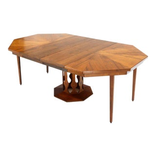 Oiled Walnut Octagonal Round Dining Table With Two Extension Leafs Probber Style For Sale