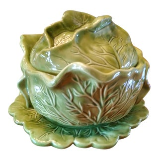 1970s Majolica Cabbage Tureen With Serving Platter For Sale
