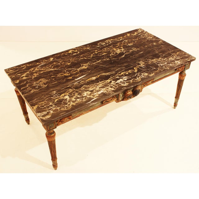 Art Deco French Painted and Parcel Gilt Neoclassical Style Marble-Top Coffee Table For Sale - Image 3 of 5
