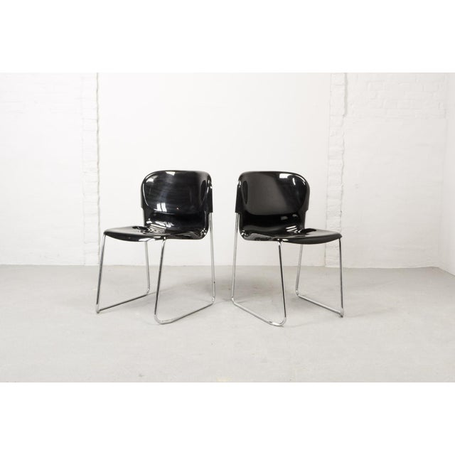 1980s Set of Ten Mid-Century Design Black Stackable Dining Chairs by Gerd Lange for Drabert, Germany, 1980s For Sale - Image 5 of 10