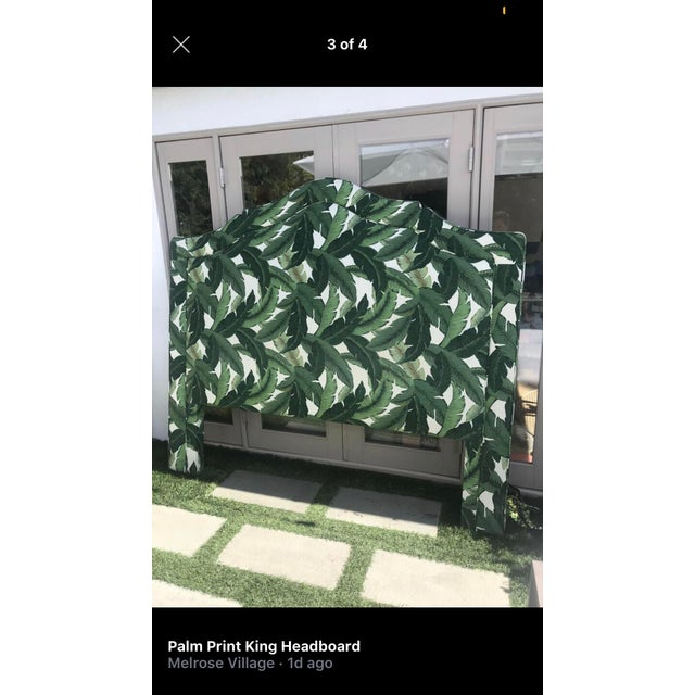 Wood Boho Chic Custom Upholstered King Banana Leaf Headboard For Sale - Image 7 of 8
