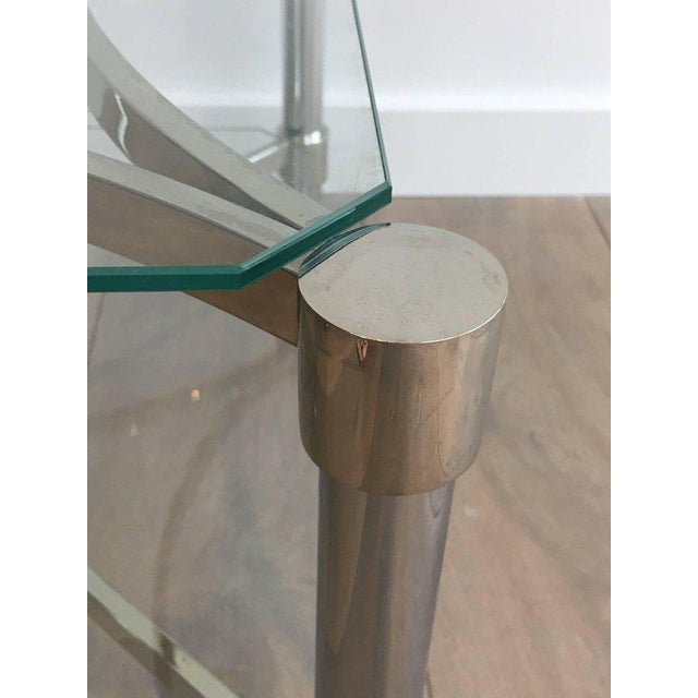 Pair of Double-tiered Chrome Side Tables For Sale - Image 9 of 11