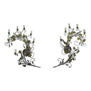 French Painted Louis XV Style Garland Sconces - a Pair