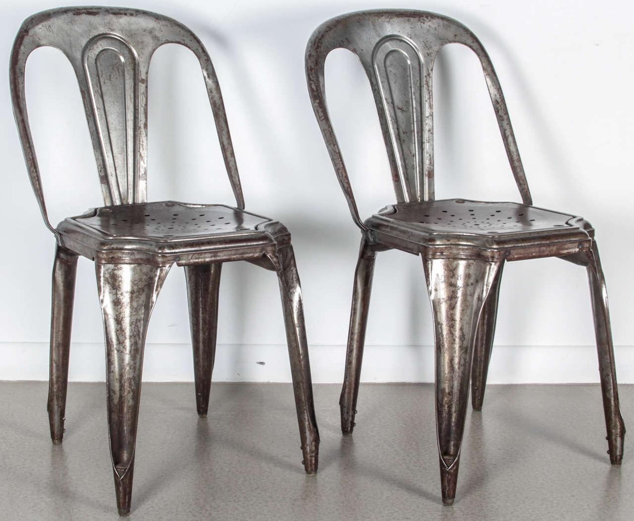 Industrial Set Of Four Metal Stacking Chairs By Tolix For Sale   Image 3 Of  12