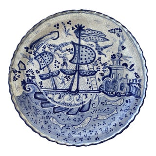 Large Mexican Blue & White Glazed Ceramic Platter with Sailors For Sale