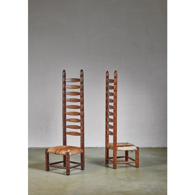 1960s Pair of High Back Ladder Chairs With Goatskin Seating, 1960s For Sale - Image 5 of 5