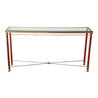 Vintage Brass, Glass, and Burl Console Table For Sale